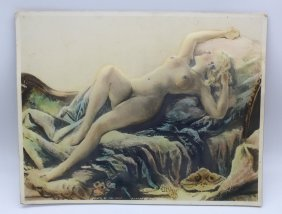Extremely Rare 1920's Autographed Mae West Nude Print