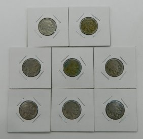 Eight Buffalo Nickels Of Various Dates