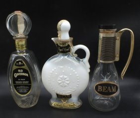 Three Mid-century Whiskey Decanters From Jim Beam And