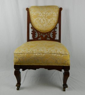 Antique Hand Carved Open Filigree Scroll Parlor Chair