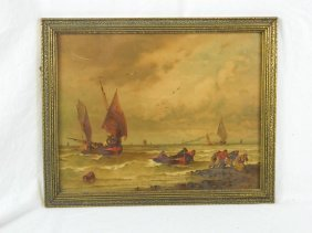 Framed Print Of Immigrants In Sail Boats