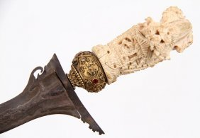 Rare Indonesian Kris Dagger With Diamonds & Rubies