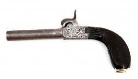 Fine Silver Mounted Belgium Gambler's Gun Pistol