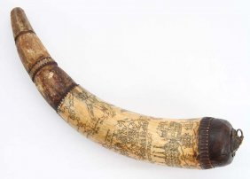 Rare Id'd English American Powder Horn 1756 Dated