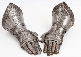 Pair Of 17th C. Style Knight's Armor Gauntlets