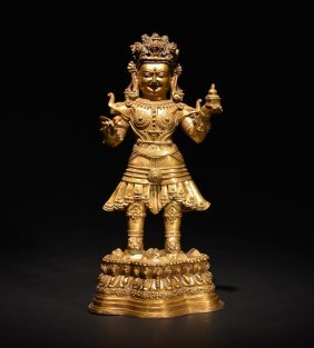 A Gilt-bronze Figure Of The King-guardian Virupaksha