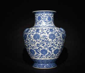 A Large Blue And White 'interlocking Flower' Vase