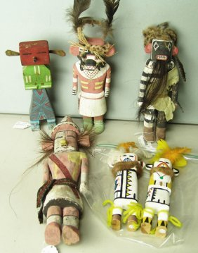 6 Wooden Kachina Dolls