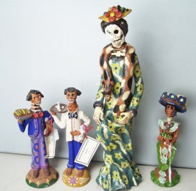 4 Day Of The Dead Pottery Figures