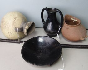 4 Old Pots & A Pipe Stem