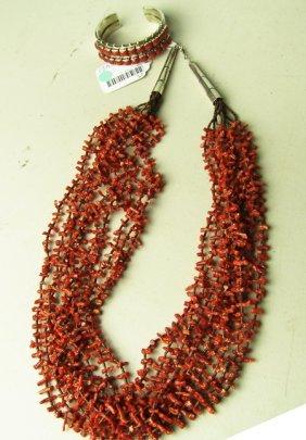 Coral Necklace & Bracelet Set
