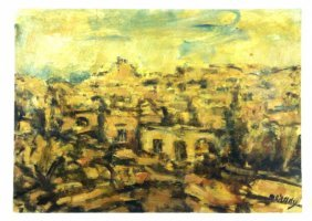 Jerusalem - An Early Drawing Of Moshe Mokady - Oil On