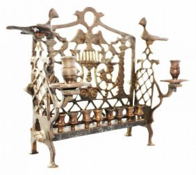 Heavy And Impressive Bronze Chanukah Menorah - France,