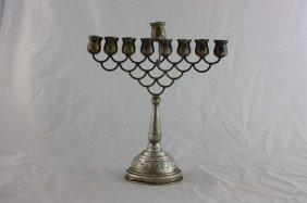 Silver Hanukah Menorah With A Dedication From The Rebbe