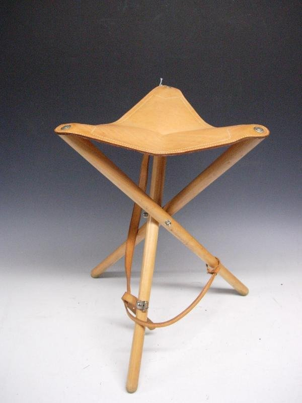1225 A Folding Tripod Stool With Leather Seat Lot 1225