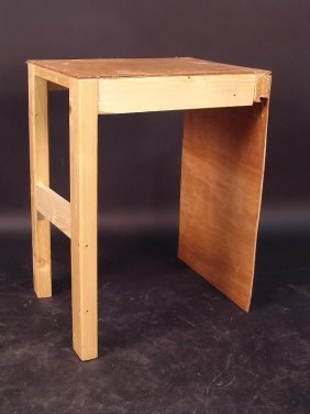 A HOME-MADE SIDE TABLE, THE PLYWOOD TOP WITH PINE