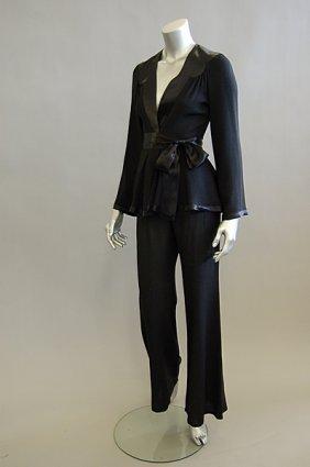 An Ossie Clark Black Moss Crepe Trouser Suit, 196