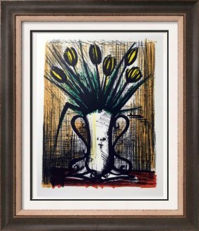 Bernard Buffet Vase Of Tulips Full Color Print,