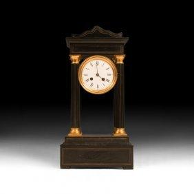 19th C. Black & Gold Neoclassical Mantle Clock