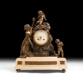 Neoclassical Mantle Clock With Venus And Cherubs