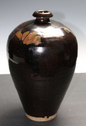 Chinese Black Glaze Mei-ping