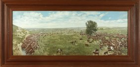 Vintage Hand Colored Large Cattle Drive Photograph