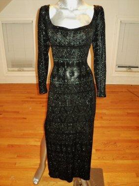 Tadashi Shoji Metallic Body Con Gown Side Slits Paisley
