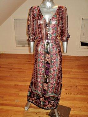 1970 Layering Hobo Dress Chiffon Paisley Maxi