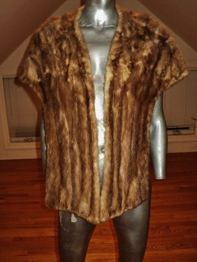Vintage Long Mink Stole/cape 1940 Wide Back Satin Lined