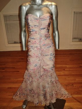 Violet Silk Floral Strapless Mermaid Shirred Gown