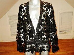Macrame' Layering Evening Jacket Beaded Sequined Onyx