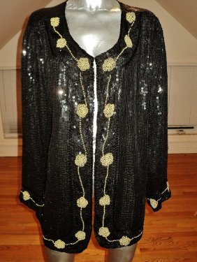 Vintage1960 Silk Embellished Opera Jacket Sequins Beads