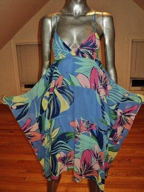 Coterie De France Hand Printed Chiffon Dress High Low
