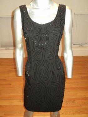Vintage 1940 Flapper Beaded Black Crepe Dress Silk