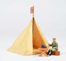 Elastolin, Soldat Mit Schreibmaschine + Zelt