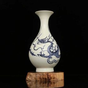 Exceptional Chinese B/w Porcelain Dragon Vase