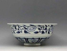 Yuan Dynasty Style B/w Porcelain Dragon Bowl