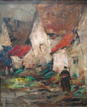 Les Maison Aux Toits Rouges Oil On Canvas, Signed Lower