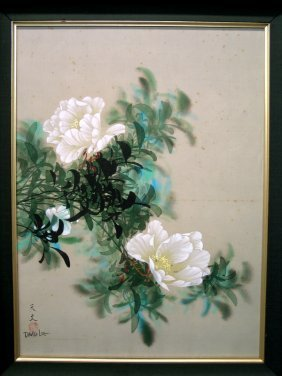 Chinese Water Color Painting On Silk, By David Lee.
