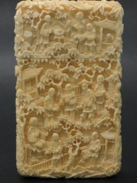 Chinese Export Carved Card Box, 19th Century.
