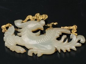 Chinese Carved White Jade Brooch