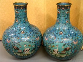 Pair Of Large Chinese Cloisonne Vases. Early 20th