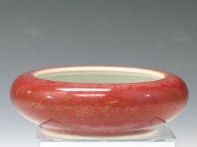 Chinese Peach Blossom Glaze Porcelain Brush Washer,