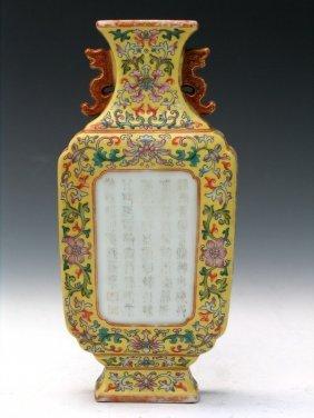 Chinese Famille Rose Porcelain Wall Vase, Qianlong
