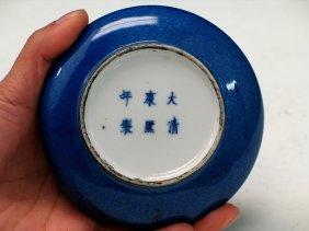 Chinese Blue Glazed Porcelain Box, Kangxi Mark.