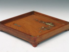 Chinese Huanghuali Wood Tray With Mother Of Pearl