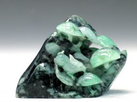 Natural Jadeite Carving Of A Boulder With Mushroom And