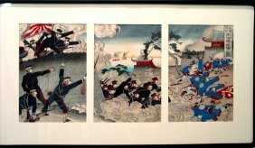 Japanese Wood Block, Depicting Sino-japanese War. #1