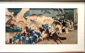 Japanese Wood Block, Depicting Sino-japanese War. #4