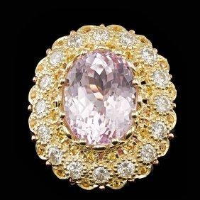14k Yellow Gold 14.00ct Kunzite 2.05ct Diamond Ring